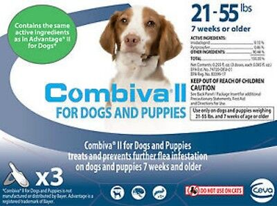 Combiva II Flea Treatment for Dogs and Puppies 21-55lbs 3 Doses
