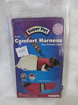 New Super Pet Small Comfort Harness Plus Stretchy Leash Ferret/Rat Pink & Black