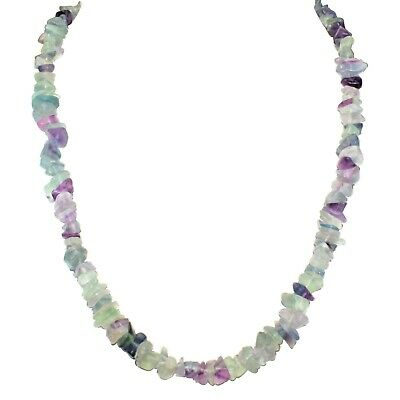 """CHARGED Rainbow Fluorite Crystal Chip Necklace + 18"""" Healing Energy REIKI WOW!!!"""