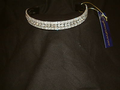 Bling Diamante Dressage Show Browband Clear Crystal 5 rows - BLACK/BROWN