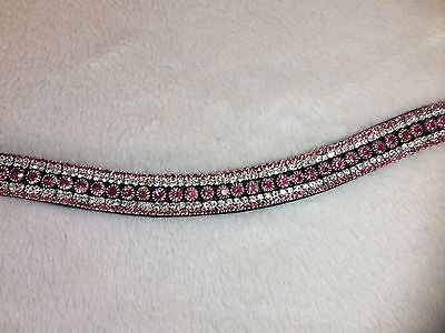 Bling Diamante Dressage show Browband Pink/Clear Crystal 5 rows - BLACK/BROWN