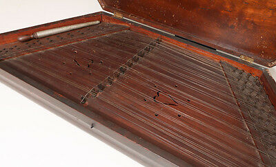 ANTIQUE HAND CRAFTED ZITHER: Grain Painted Exterior 14 sets of strings Intrument