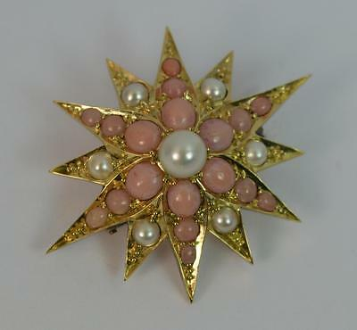 Large Victorian 15ct Gold Coral and Pearl Star Brooch d1614