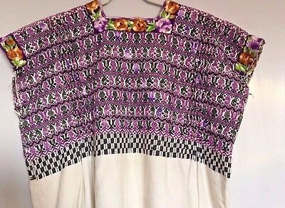 Guatemalan Vintage Huipil 1980'S, Extraordinary Weaving & Embroidery, Large Size