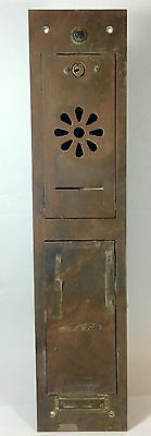 Vtg Brass Mailbox With Doorbell Buzzer Apartment Mail Slot Box