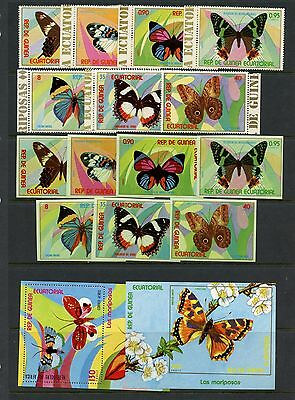 Equatorial Guinea 1976   butterflies  - perf & imperf set and sheets  MNH  I585
