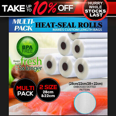Vacuum Food Sealer Seal Bags Rolls Saver Storage Commercial Heat Grade 22 28cm