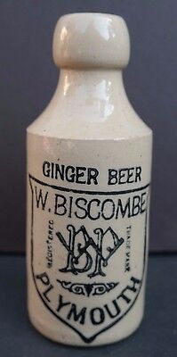 Antique 1800's W. Biscombe Plymouth (UK) Ginger Beer Ceramic Stoneware Bottle