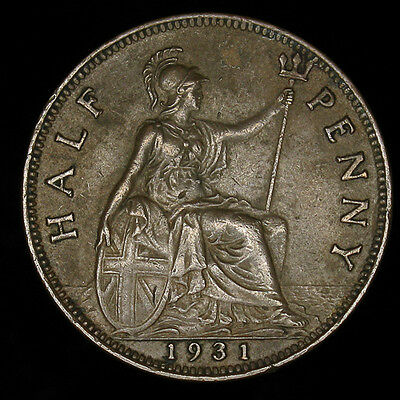 1931 Great Britain Half 1/2 Penny high grade AU