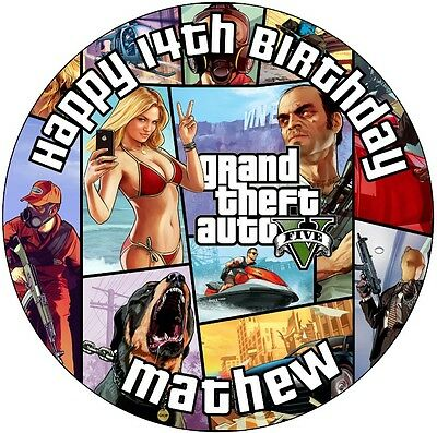 """Grand theft auto GTA 5 personalised icing sheet cake topper 7.5"""" Round"""