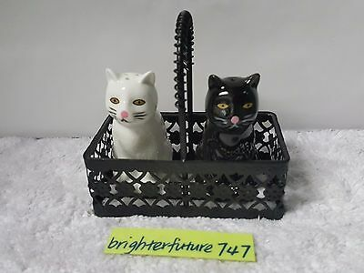 Cat White Black Salt And Pepper Shakers With Basket Three Piece Ceramic Set New