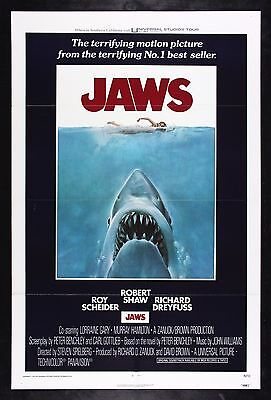 JAWS * CineMasterpieces ORIGINAL MOVIE POSTER 1975 UNUSED SHARK C9 NM