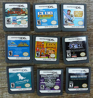 LOT of 9 - Nintendo DS Game Cartridges