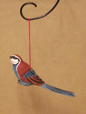 Brand New Wooden Hand Carved & Painted Blue Longtail Hanging Ornament Bird