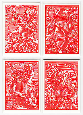 2015 MARS ATTACKS OCCUPATION Genuine Meteorite Woodcut Letterpress Card Set of 8
