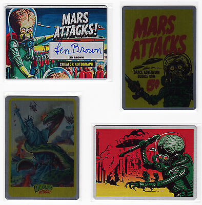 MARS ATTACKS OCCUPATION 55 Metal Card 1962 Heritage Set Len Brown Autograph Case