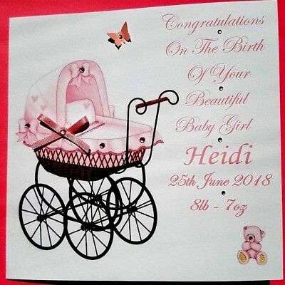 Personalised  Handmade New Baby Girl Card Or Christening Card