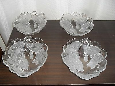 Clear Crystal Frosted Flower and Leaves Serving bowls x 4