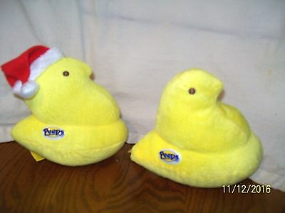 Peeps Lot of 2 Yellow Chick Plush Christmas 5""