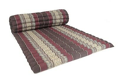 Roll Up Thai Mattress, 200x76x5 cm, Kapok, Brown Red