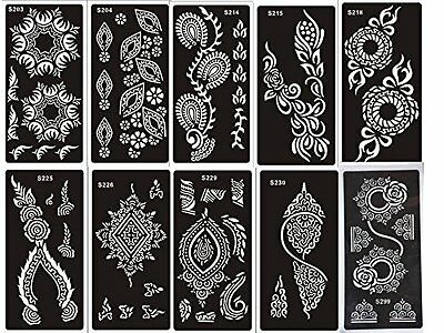 10 fogli Mehndi Tattoo Stencil Mehndi Tatuaggi all'hennè Set Dora - Usa e getta