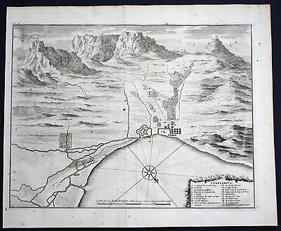 1726 South Africa Cape of Good Hope Fort castle engraving map Valentijn Town
