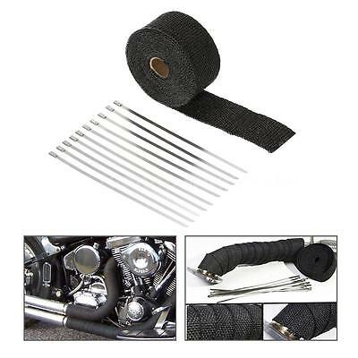 New Black 5CM*15M Exhaust/Header Heat Wrap w/Stainless Cable Ties