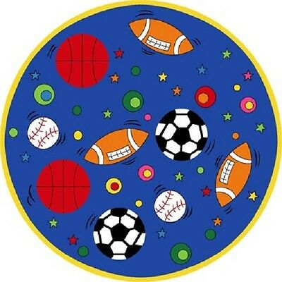 8' Kids Children Sports Theme In Blue Room Classroom Sports Round Area Rug