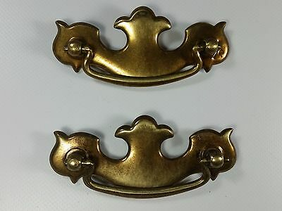 "Set of 2 Vintage 4"" Brass Batwing Style Drawer Pull Handles"