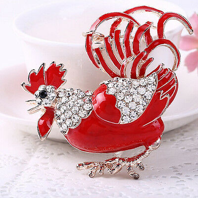 1Pc Funny Rooster Chicken Crystal Bag Pendant Key Chain Decor Christmas Gift
