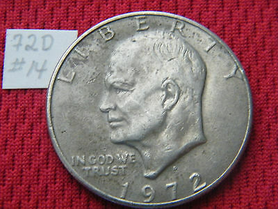 "Dark Cool Toned 1972 D Eisenhower IKE Clad AKA ""silver"" Dollar FREE SHIPPING #14"