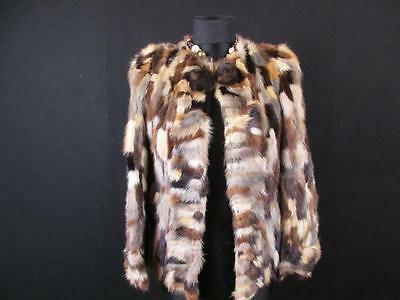 Castellhino Vtg Authentic Real Fur Coat Size 4/6 Uk Brown/beiges Ref-H039