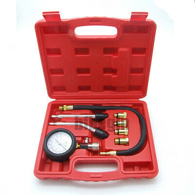 8pc New Petrol Gas Engine Cylinder Compression Tester Kit Automotive Tool Gauge