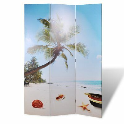 # Large Folding 3 Panels Room Divider Screen Solid Wood Print Beach Privacy 120c