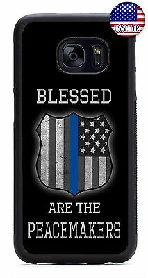 Police Shield Blue Line Case Cover For Samsung Galaxy S4 S5 S6 S7 Edge Note 4 5