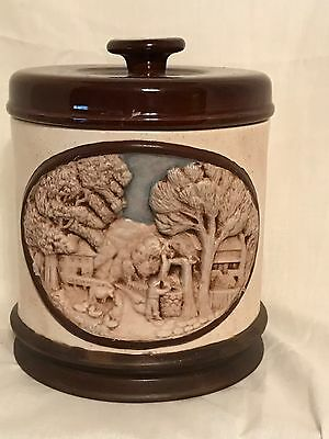 3D Country Scene Tan/Brown Ceramic Canister or Cookie Jar / Dog Treats
