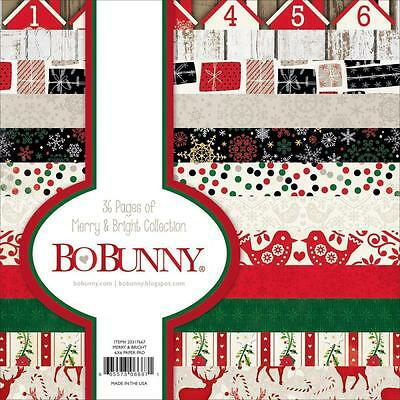 """Bo Bunny MERRY & BRIGHT - 6x6"""" Paper Pad - 36 pp - Christmas - Cardmaking"""