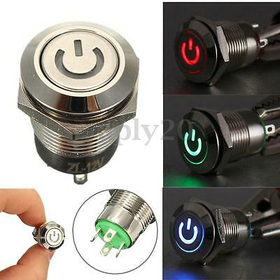 12V 2A 4 Pin LED Power Momentary Push Button Switch For Car Motorcycle Compurter