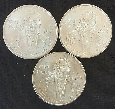 1977/78/79 Mexico.. 100 Pesos Silver Coin Set...- Choice Uncirculated..