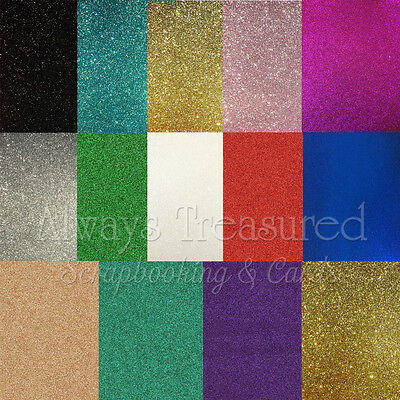 A4 Glitter Craft Cardstock - 14 Colour Options Scrapbooking Card Making Craft