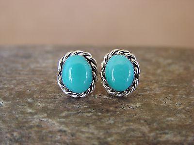 Native American Sterling Silver Turquoise Post Earrings by Leander Cachini