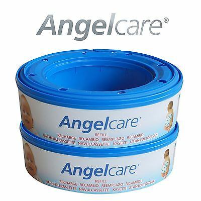 2 x Angelcare Nappy Disposal System Refill Cassettes Wrappers Bags Sacks Pack