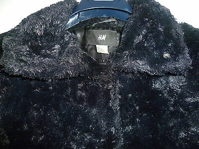 H&m Age 12-13 Girls Black Faux Fur Jacket Fully Lined With 2 Side Pockets