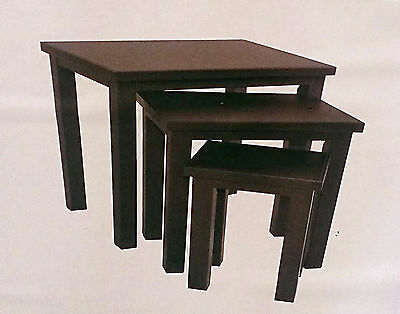 Faux Leather Set Of 3 Nest Tables Dark Brown Coffee, Sofa & End Tables