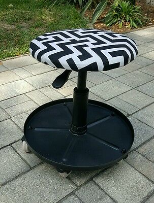 Vintage UNIQUE INDUSTRIAL RETRO UPCYCLED  Black WHITE Rolling Ottoman STOOL