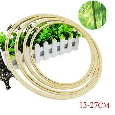"""Bamboo Wooden Embroidery Cross Stitch Machine Hoop Ring 5"""" 6.7"""" 8"""" 9"""" 10.5"""" FB"""