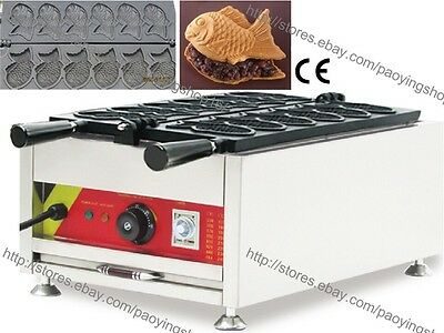 Commercial Nonstick Electric 6pcs Fish Waffle Taiyaki Machine Maker Baker Iron