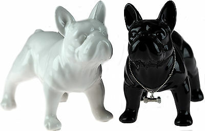 Set Of 2 Black And White 16 cm Long French Bull Dog Figurine Ornaments