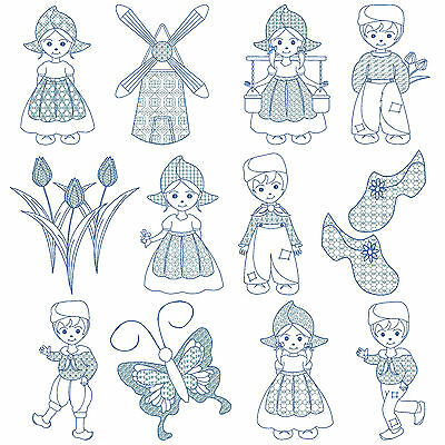 HOLLAND * Machine Embroidery Patterns * 12 Designs, 2 Sizes *