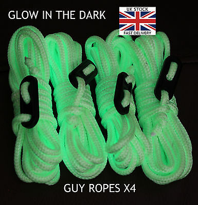 GLOW IN THE DARK - Guy Line Ropes x4 PACK Tent Camping Festival green yellow